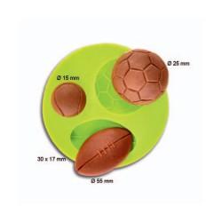 Molde Silicone Bolas (Futebol,Tenis,Rugby)
