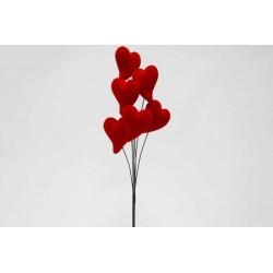Ramo com 6 corações Vermelhos 4,5cm