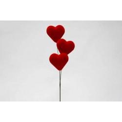 Ramo com 3 corações Vermelhos 6,5cm
