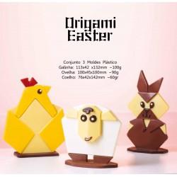 Molde Plástico Bombons Pascoa Origami Cj.3