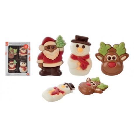 Figuras Natal de Chocolate Leite e Branco
