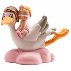 Cegonha Aviadora com Bebe Rosa