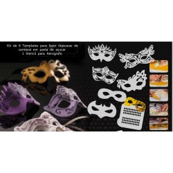 Kit de 6 templates Mascaras e 1 Stencil