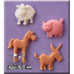 Molde Silicone Ovelha Cavalo Burro e Porco