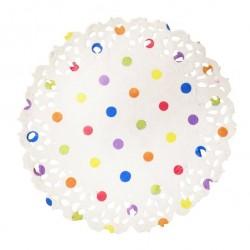 Naperons Brancos com Bolinhas Coloridas 11cm - Cj.50