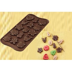 Molde Silicone Butões Natal Chocolate