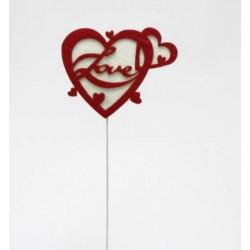 Corações Love com Pico 8,5cm - Cj.6