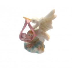 Cegonha com Bebe Lenço Rosa 9cm