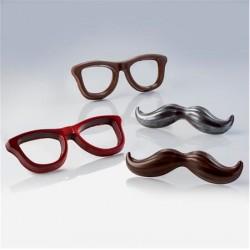 Molde Polietileno Oculos e Bigode Chocolate 2pc