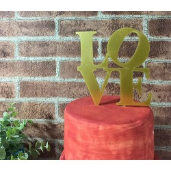 Topo de Bolo Love Dourado