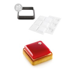 Kit Tarte Ring Square Ø80 Silikomart