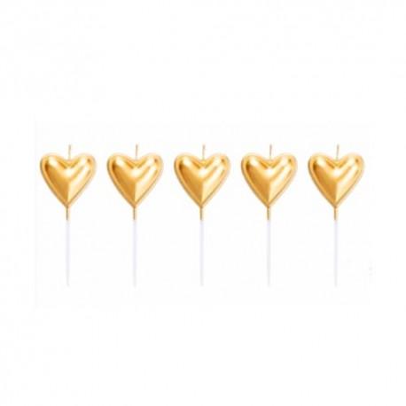 Velas Coração Dourados Cj.5