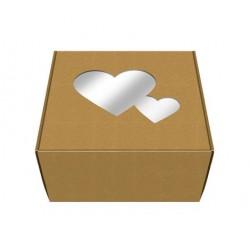 Caixa Visor Coração Kraft/Branco