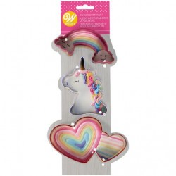 Cortante Unicornio - Arco Iris - Duplo Coração