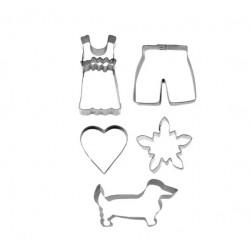 Cortantes Flor Edelvaisse | Cão Dachshund |Coração | Vestido |Calção