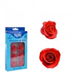 Rosas de Açúcar Vermelhas (3,3cm) Cx.8