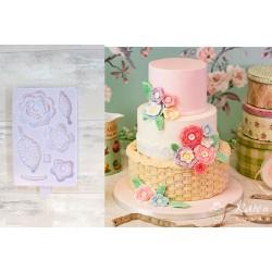 Molde Silicone Flores e Folhas Crochet Karin Davies