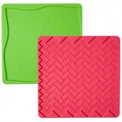 Tela de Silicone Textura Relva e Tijolo