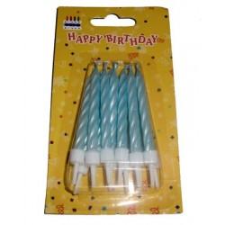 Velas Torcidas Azuis 6cm -Conjunto de 10