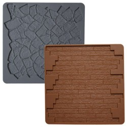 Tela de Silicone Textura Pedra e Madeira