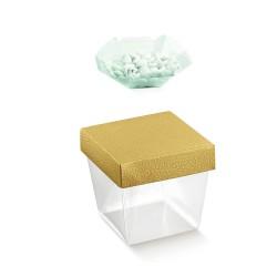Caixa transparente com base dourada 10X10X10,5cm